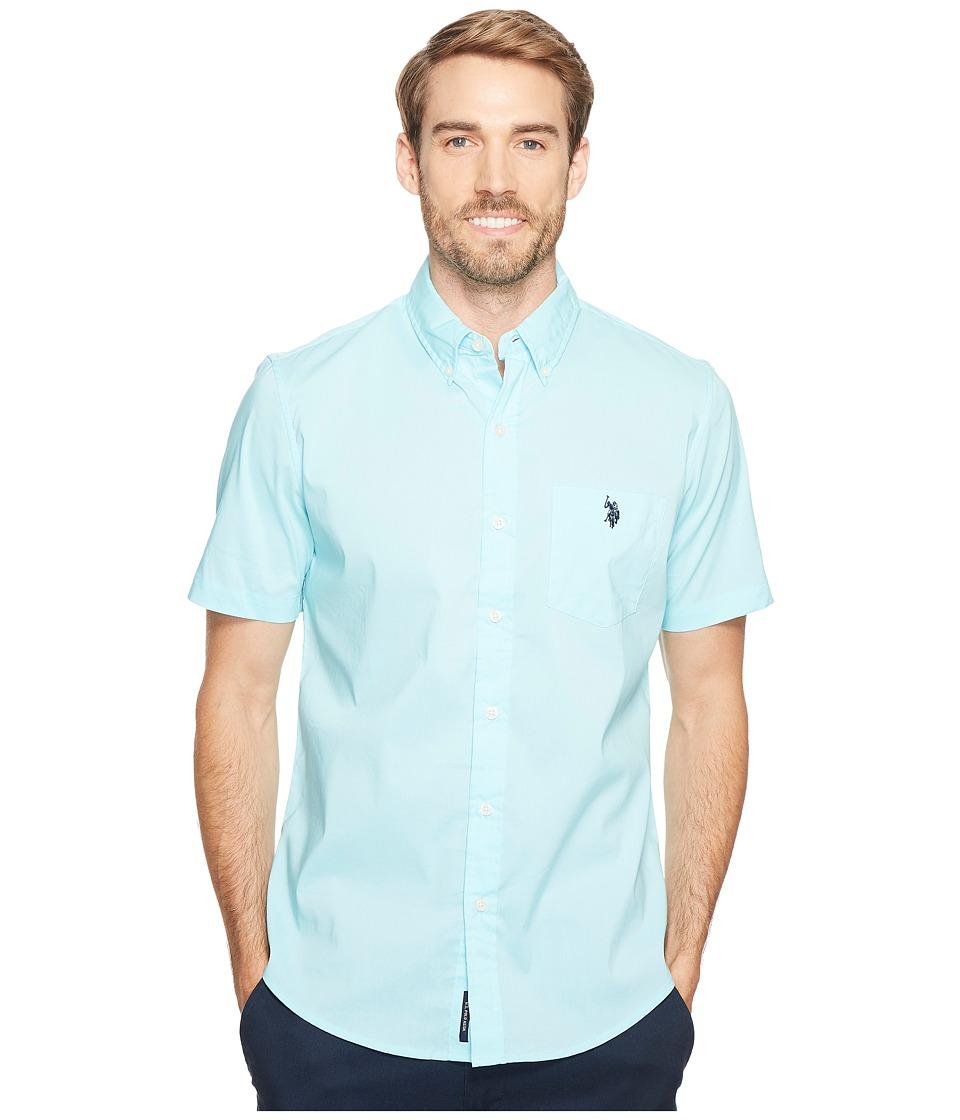 U.S. POLO ASSN. - Short Sleeve Single Pocket Slim Fit Solid Sport Shirt (Spring Water) Men's T Shirt