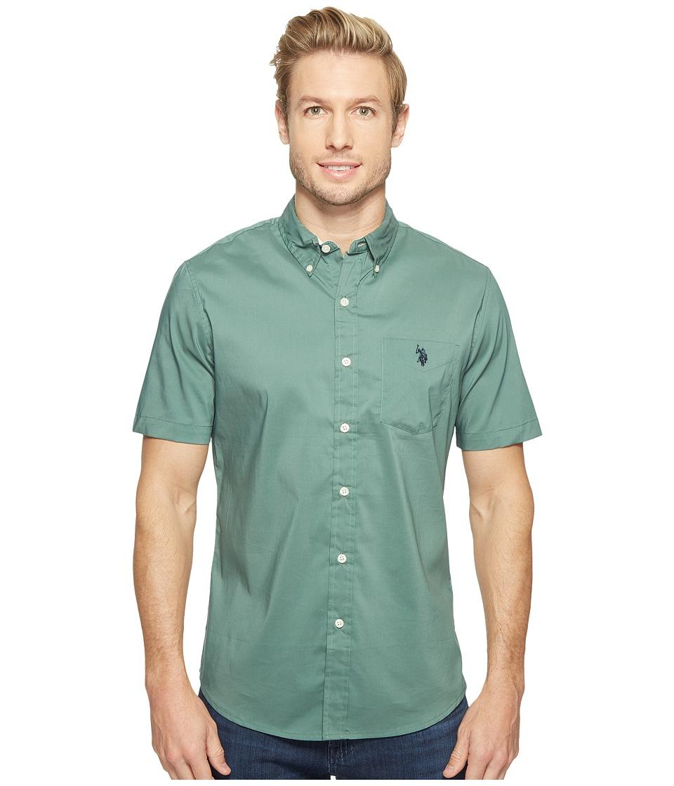 U.S. POLO ASSN. - Short Sleeve Single Pocket Slim Fit Solid Sport Shirt (Beach Pine) Men's T Shirt