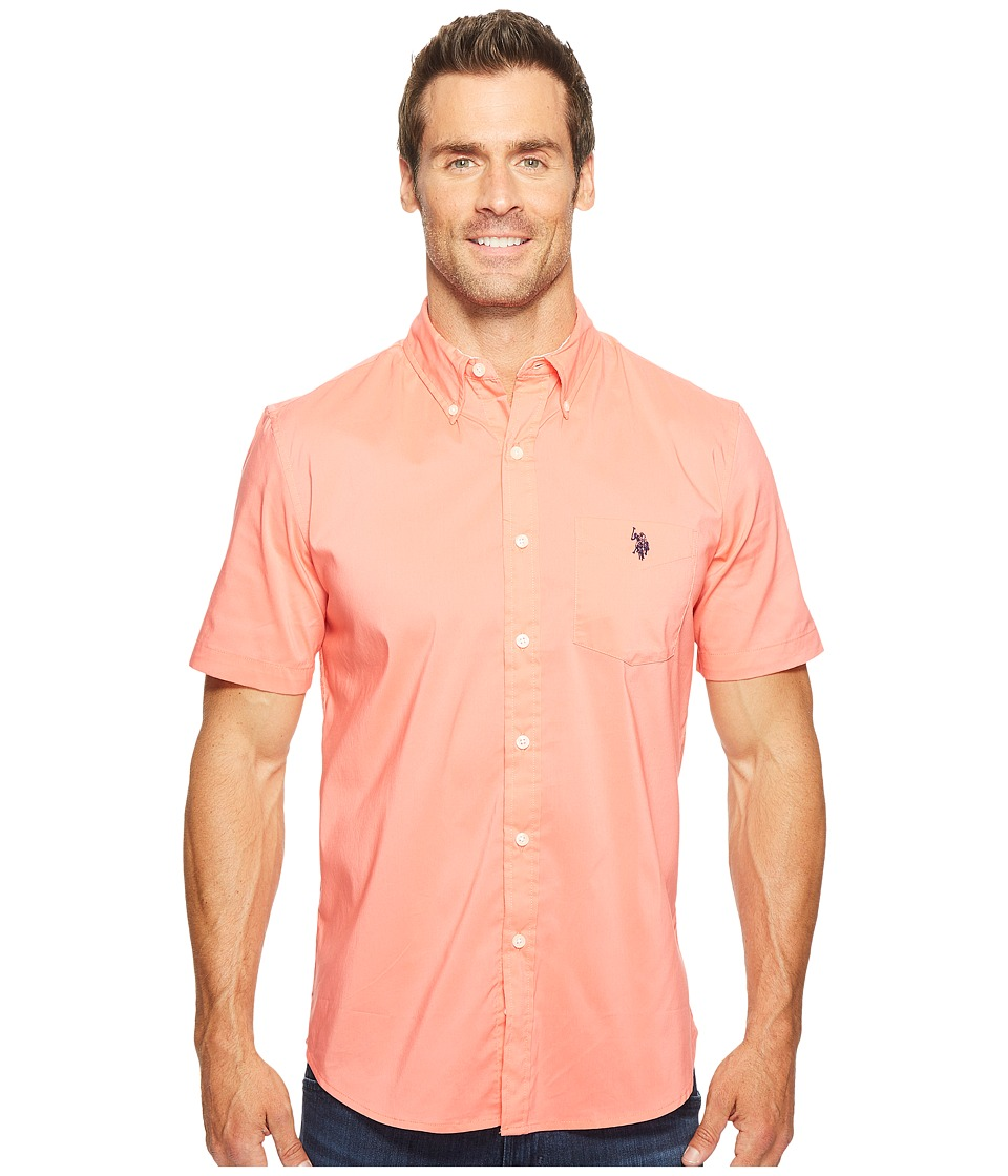 U.S. POLO ASSN. - Short Sleeve Single Pocket Slim Fit Solid Sport Shirt (Pink Coral) Men's T Shirt