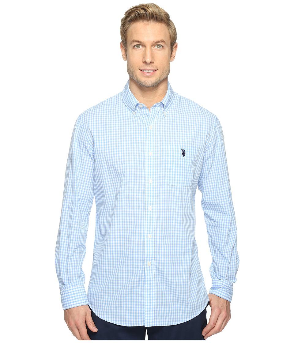 U.S. POLO ASSN. - Stripe, Plaid or Print Long Sleeve Single Pocket Sport Shirt (Artist Blue) Men's T Shirt