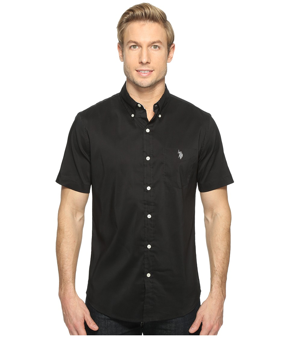 U.S. POLO ASSN. - Short Sleeve Single Pocket Slim Fit Solid Sport Shirt (Black) Men's T Shirt