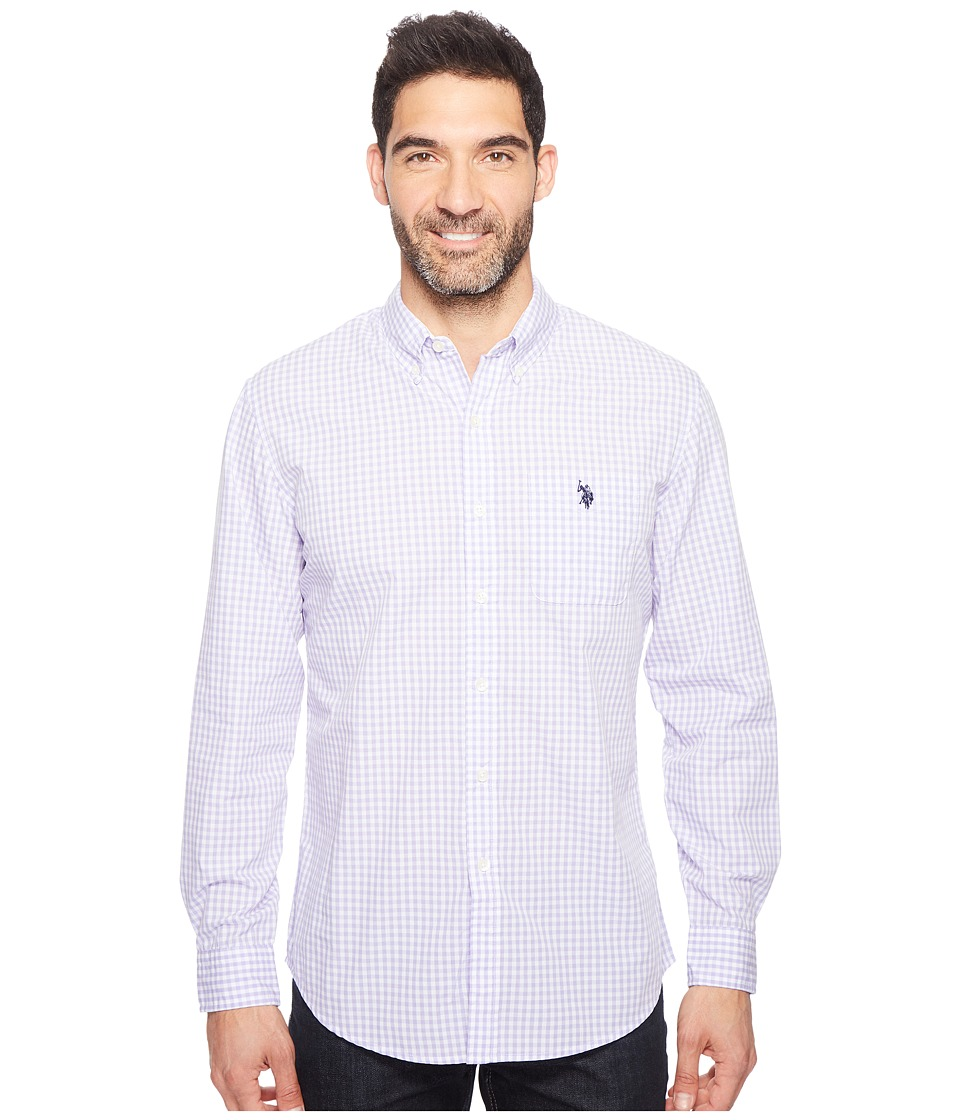 U.S. POLO ASSN. - Stripe, Plaid or Print Long Sleeve Single Pocket Sport Shirt (Violet Sky) Men's T Shirt