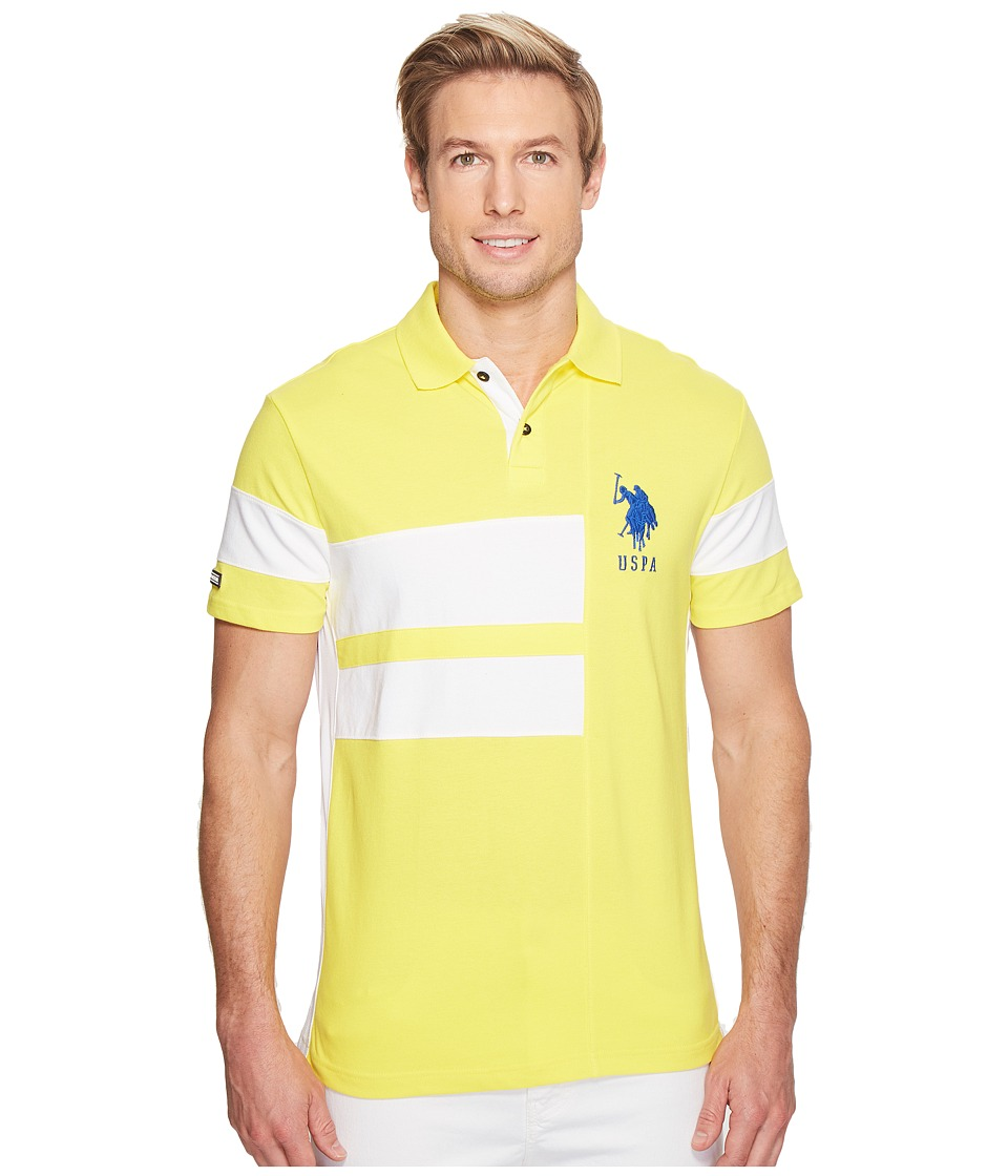 U.S. POLO ASSN. - Short Sleeve Color Blocked Slim Fit Pique Polo Shirt (Yellow Pop) Men's T Shirt