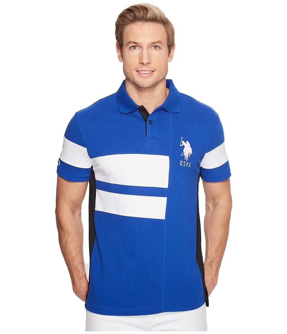 U.S. POLO ASSN. - Short Sleeve Color Blocked Slim Fit Pique Polo Shirt (Blue Raft) Men's T Shirt