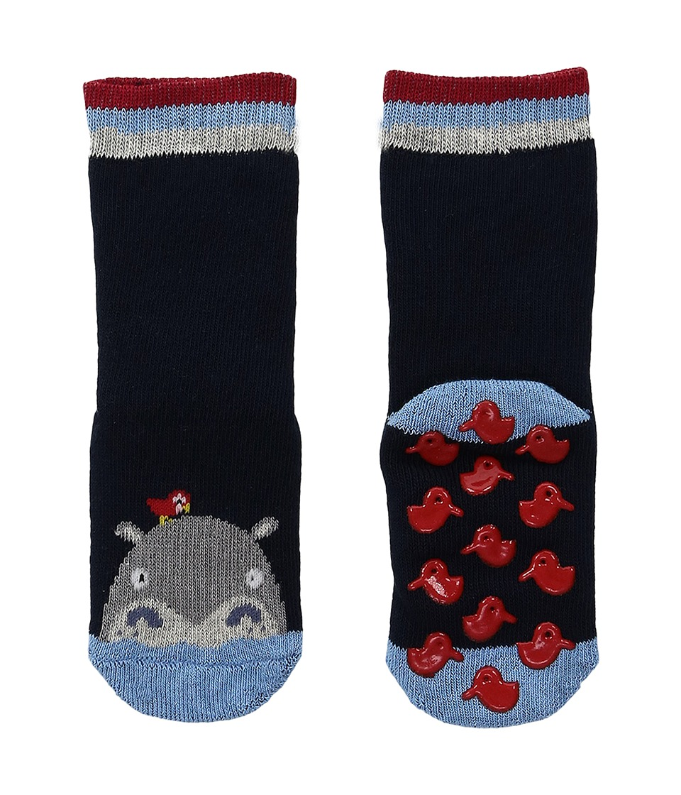 Falke - Hippo Catspads (Infant) (Marine) Crew Cut Socks Shoes