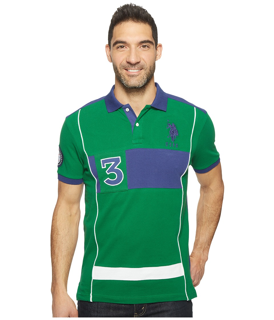 U.S. POLO ASSN. - Short Sleeve Color Blocked Slim Fit Pique Polo Shirt (Sport Green) Men's T Shirt