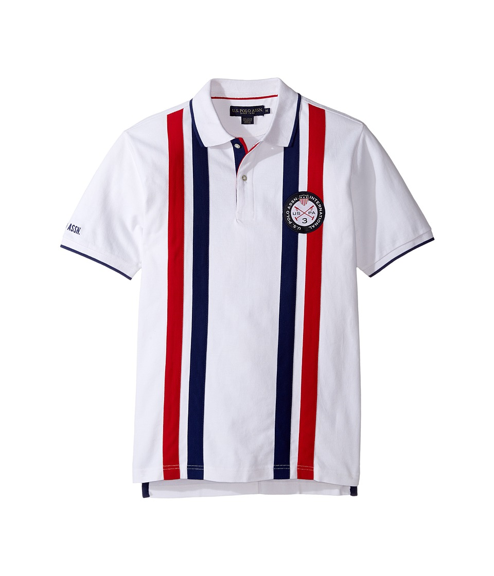 U.S. POLO ASSN. - Short Sleeve Striped Classic Fit Pique Polo Shirt (White) Men's T Shirt