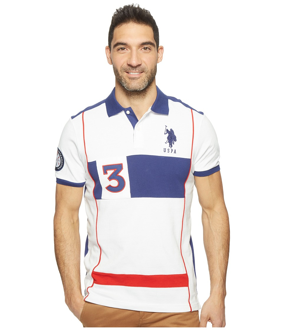 U.S. POLO ASSN. - Short Sleeve Color Blocked Slim Fit Pique Polo Shirt (White) Men's T Shirt