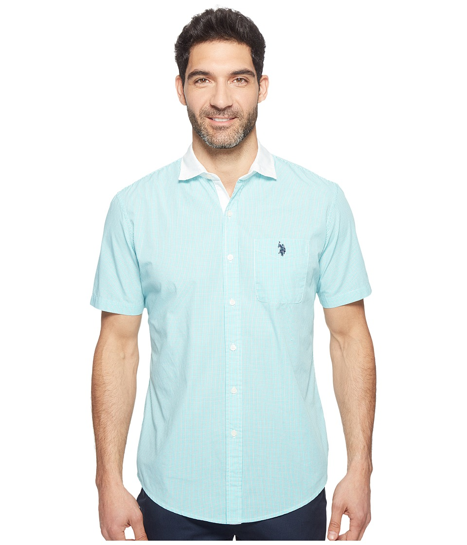 U.S. POLO ASSN. - Classic Fit Single Pocket Stripe, Plaid or Print Sport Shirt (Malibu Blue) Men's T Shirt