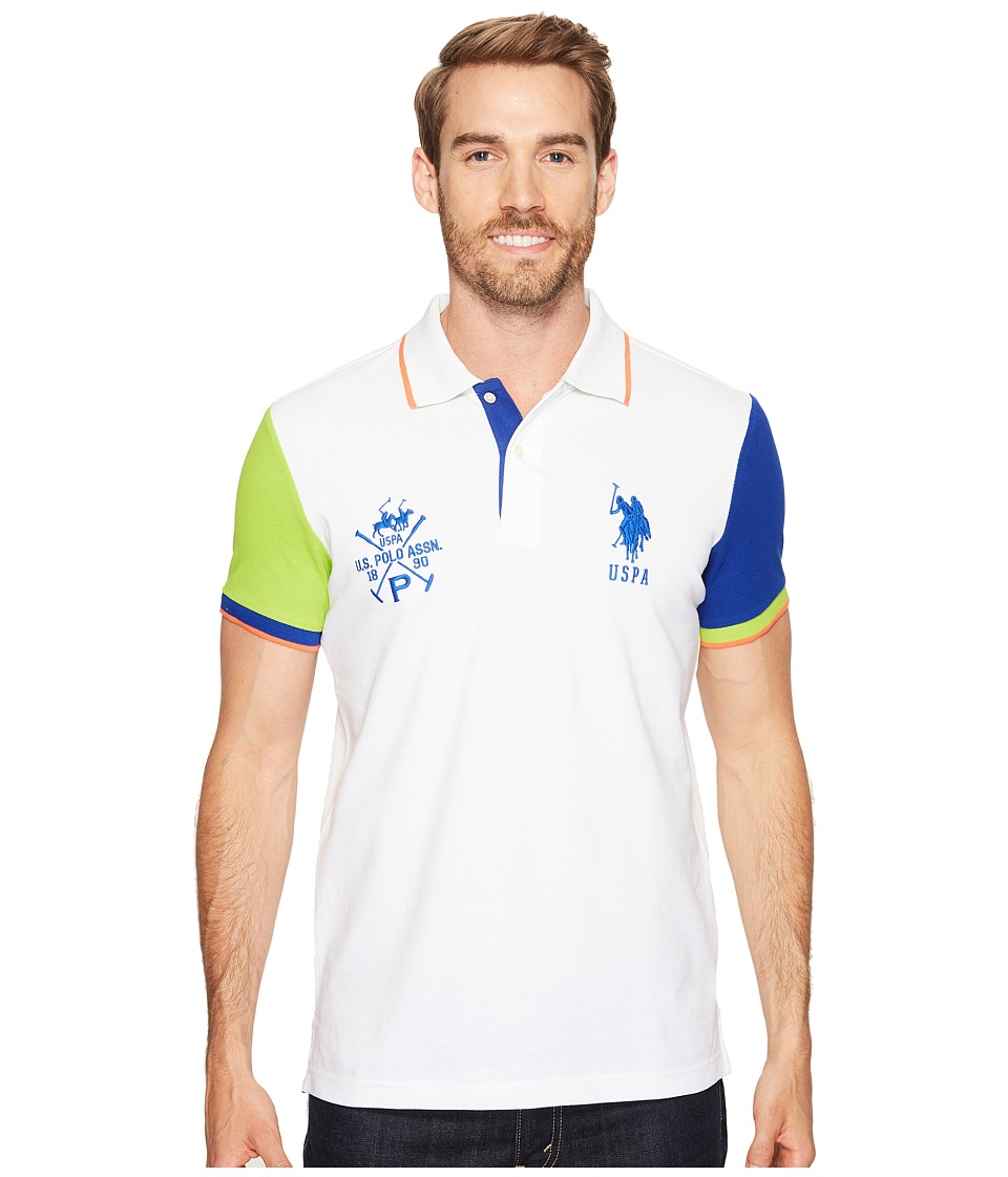 U.S. POLO ASSN. Short Sleeve Color Blocked Slim Fit Pique Polo Shirt (White) Men