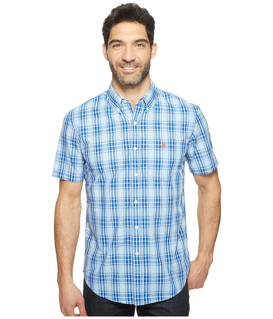U.S. POLO ASSN. - Classic Fit Single Pocket Stripe, Plaid or Print Sport Shirt (Placid Blue) Men's T Shirt