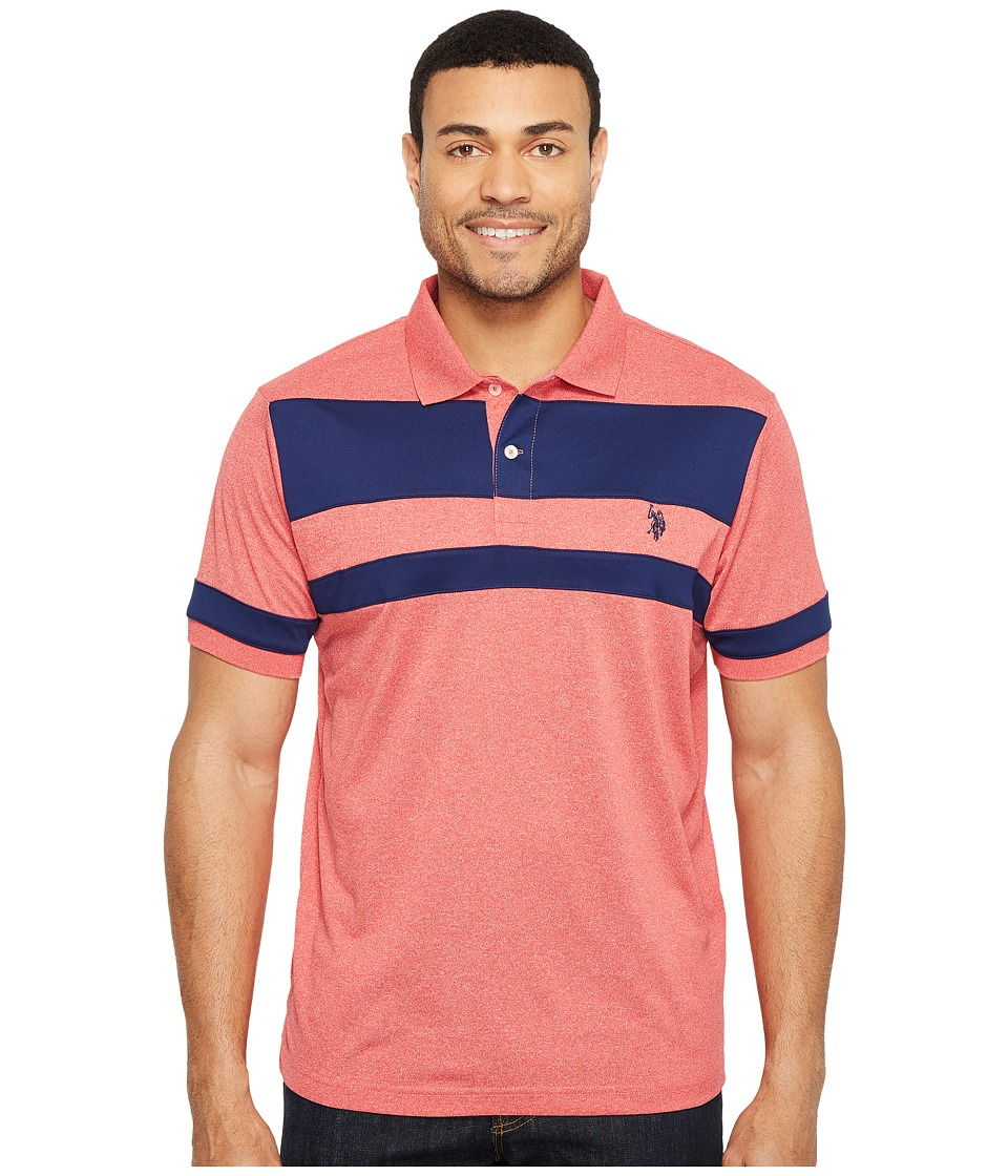 U.S. POLO ASSN. - Color Blocked Short Sleeve Classic Fit Polo Shirt (Winning Red) Men's T Shirt
