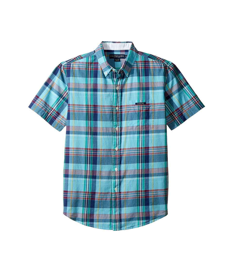 U.S. POLO ASSN. - Classic Fit Single Pocket Stripe, Plaid or Print Sport Shirt (Painters Aqua) Men's T Shirt