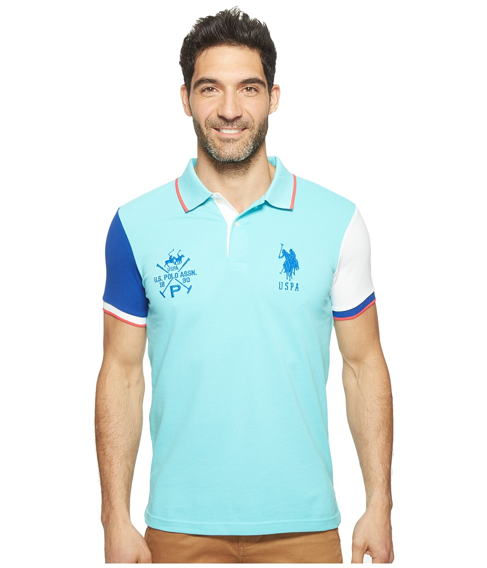 U.S. POLO ASSN. - Short Sleeve Color Blocked Slim Fit Pique Polo Shirt (Painters Aqua) Men's T Shirt