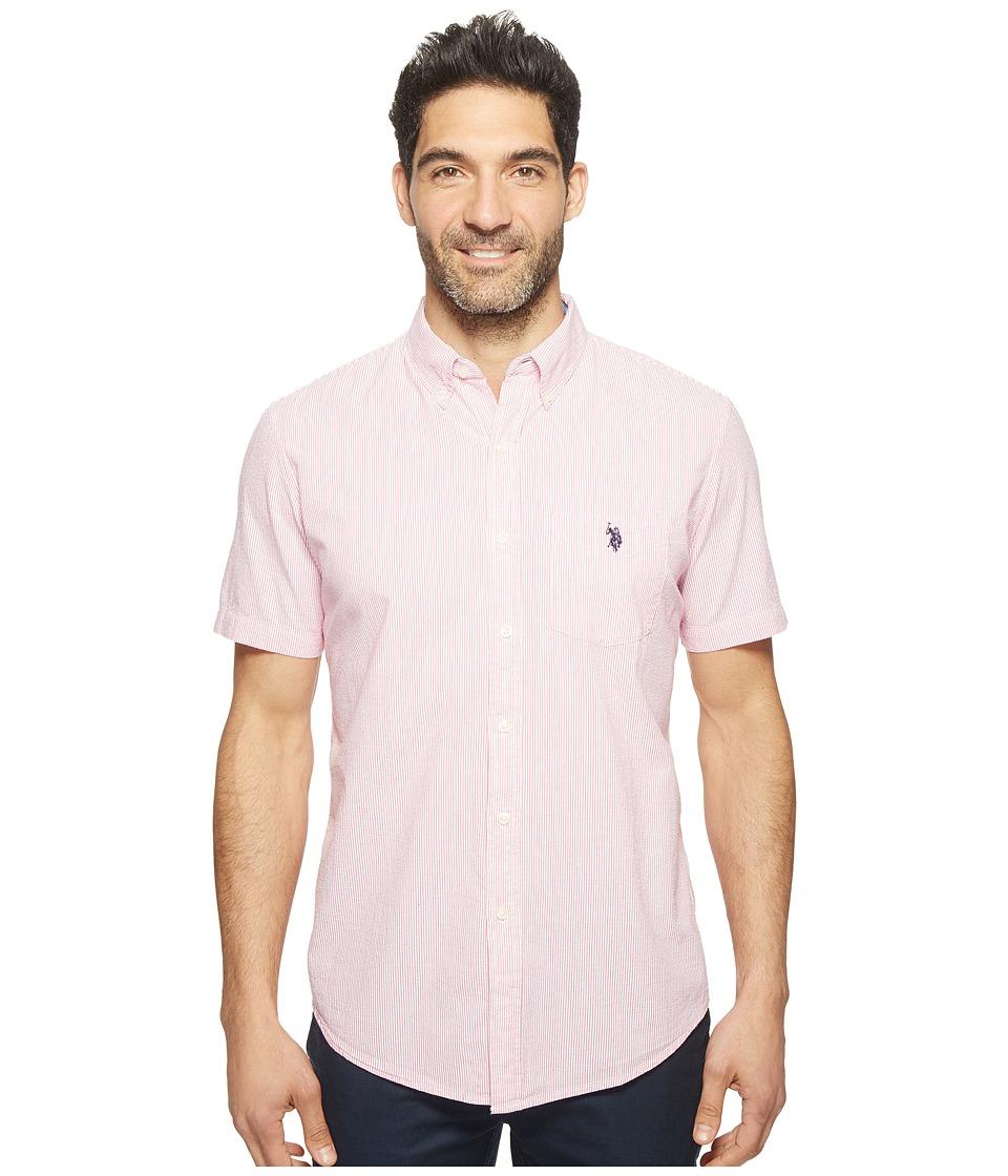 U.S. POLO ASSN. - Classic Fit Single Pocket Stripe, Plaid or Print Sport Shirt (Fuchsia Flower) Men's T Shirt