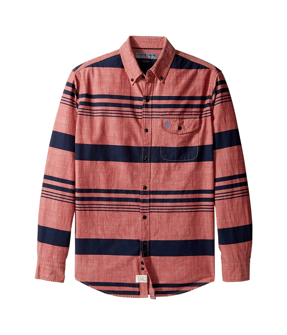 U.S. POLO ASSN. - Stripe, Plaid or Print Long Sleeve Single Pocket Sport Shirt (Red Canvas) Men's T Shirt