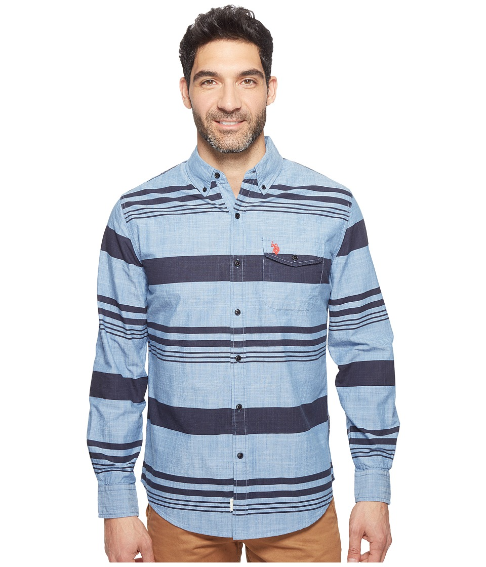 U.S. POLO ASSN. - Stripe, Plaid or Print Long Sleeve Single Pocket Sport Shirt (Pale Blue) Men's T Shirt