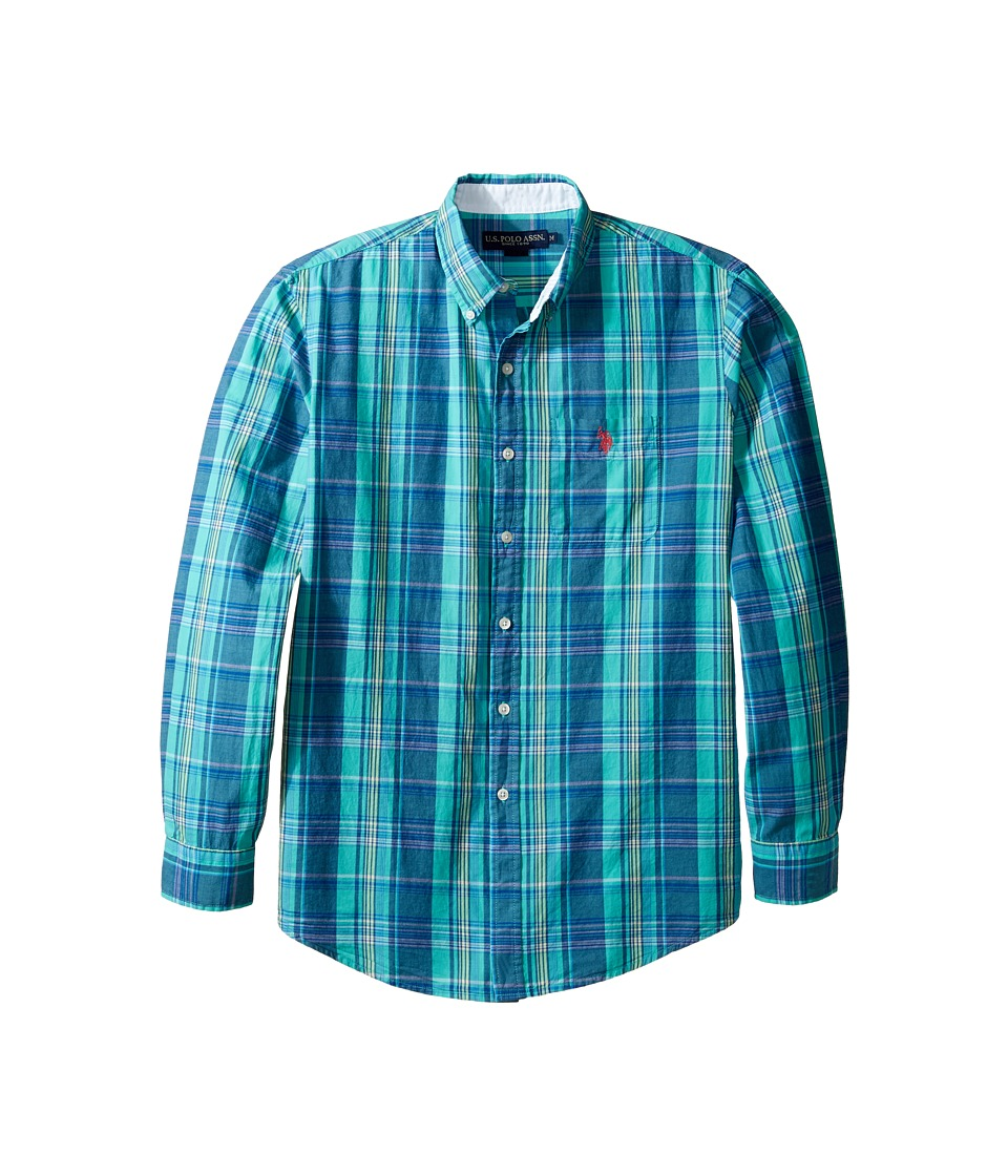 U.S. POLO ASSN. - Stripe, Plaid or Print Long Sleeve Single Pocket Sport Shirt (Malibu Blue) Men's T Shirt