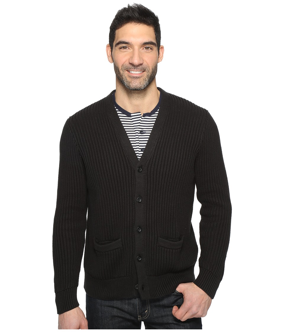 Dockers Premium - Cotton Cashmere Cardigan (Black) Men's Sweater