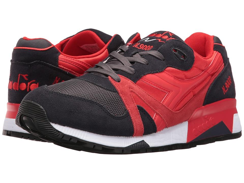 Diadora N9000 NYL II (Fiery Red/Nine Iron) Athletic Shoes