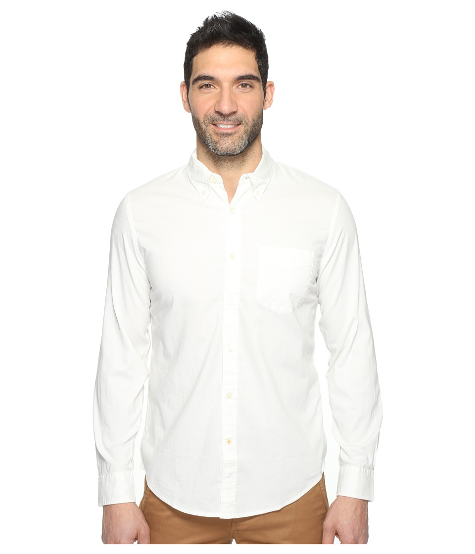Dockers Premium - Long Sleeve Weathered Oxford (Paper White Pattern) Men's Clothing
