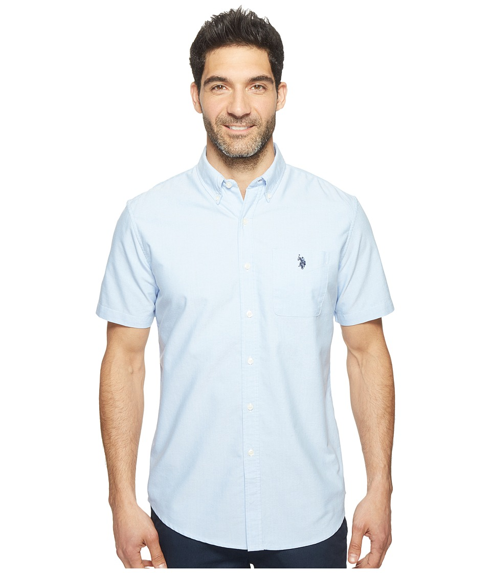 U.S. POLO ASSN. - Short Sleeve Classic Fit Single Pocket Solid Sport Shirt (Light Blue) Men's T Shirt