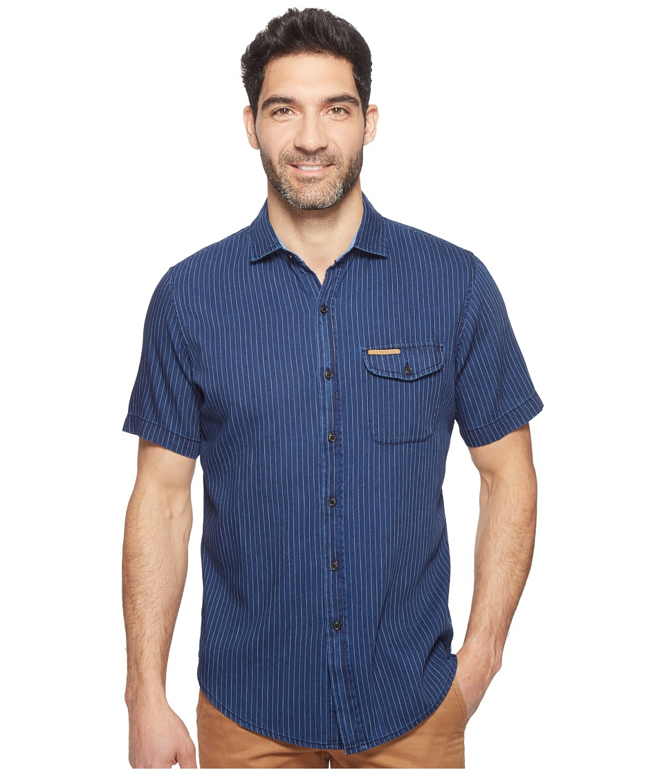 U.S. POLO ASSN. - Classic Fit Single Pocket Stripe, Plaid or Print Sport Shirt (Dark Rinse Wash) Men's T Shirt