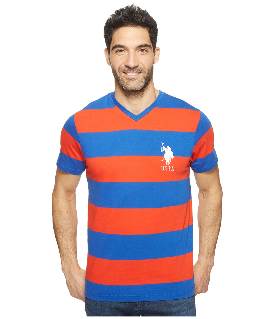 U.S. POLO ASSN. - Rugby Stripe V-Neck T-Shirt (Crimson Fire) Men's Short Sleeve Pullover