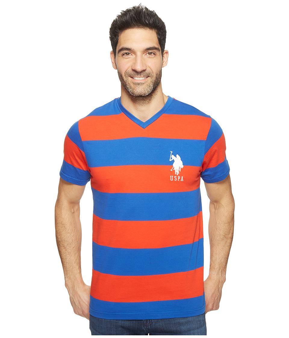 U.S. POLO ASSN. - Rugby Stripe V-Neck T-Shirt (Crimson Fire) Men's Short Sleeve Pullover