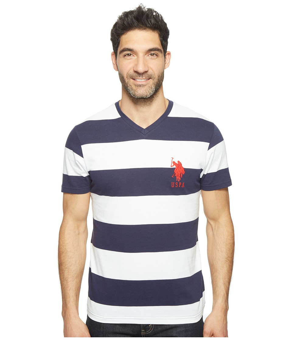 U.S. POLO ASSN. - Rugby Stripe V-Neck T-Shirt (Classic Navy) Men's Short Sleeve Pullover