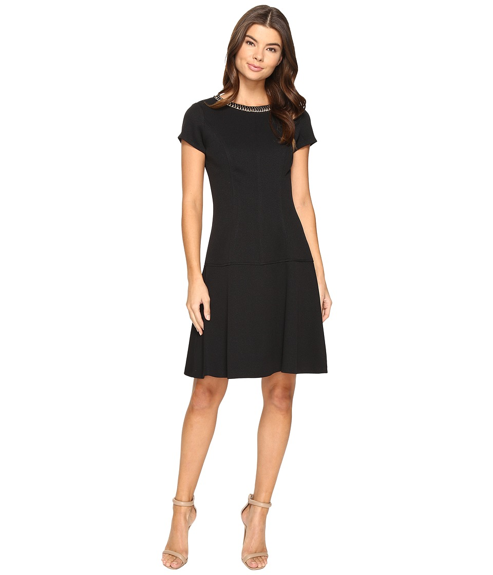 Ellen Tracy - Pique Dress with Necklace Embellishment (Black) Women's Dress