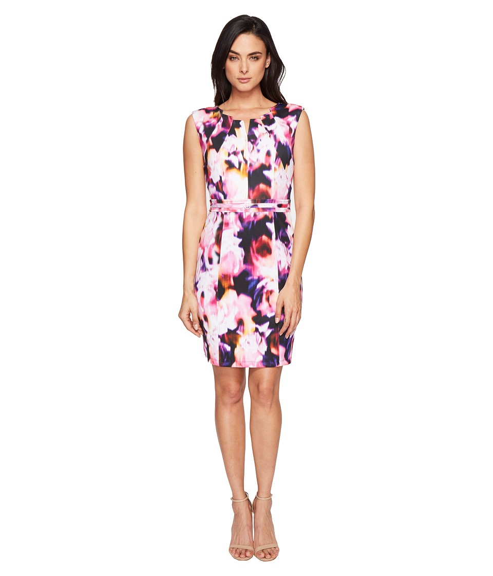 Ellen Tracy - Floral Print Scuba Dress (Purple Multi) Women's Dress