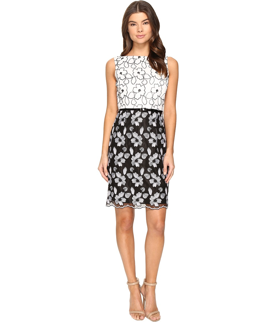 Ellen Tracy - Floral Embroidered Dress (Black/White) Women's Dress