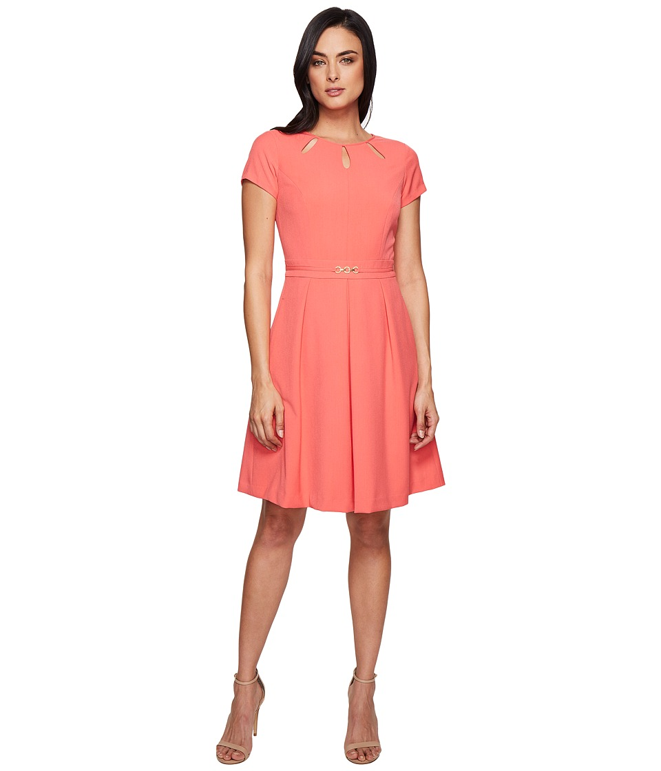 Ellen Tracy Fit and Flare Dress with Hardware and Cut Outs (Coral) Women