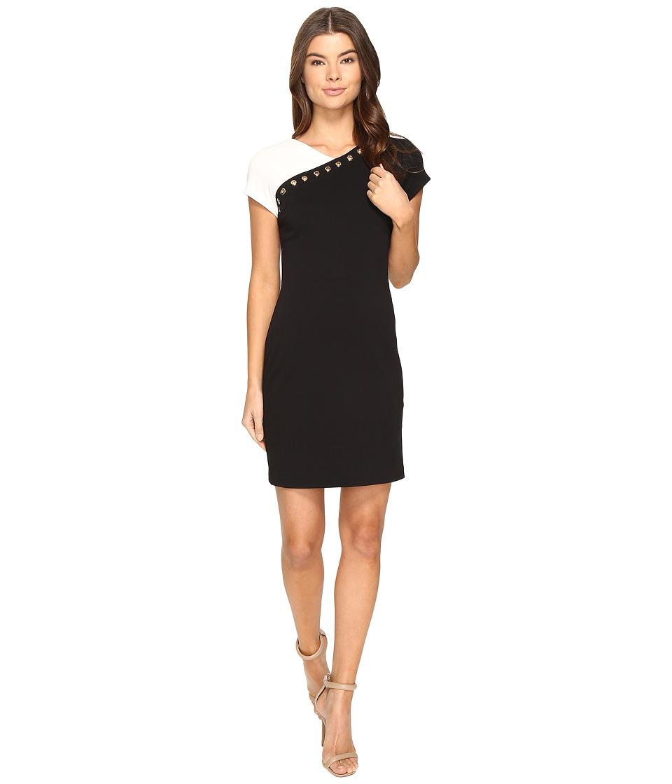 Ellen Tracy Ponte Color Block Dress with Embellishment (Black/White) Women