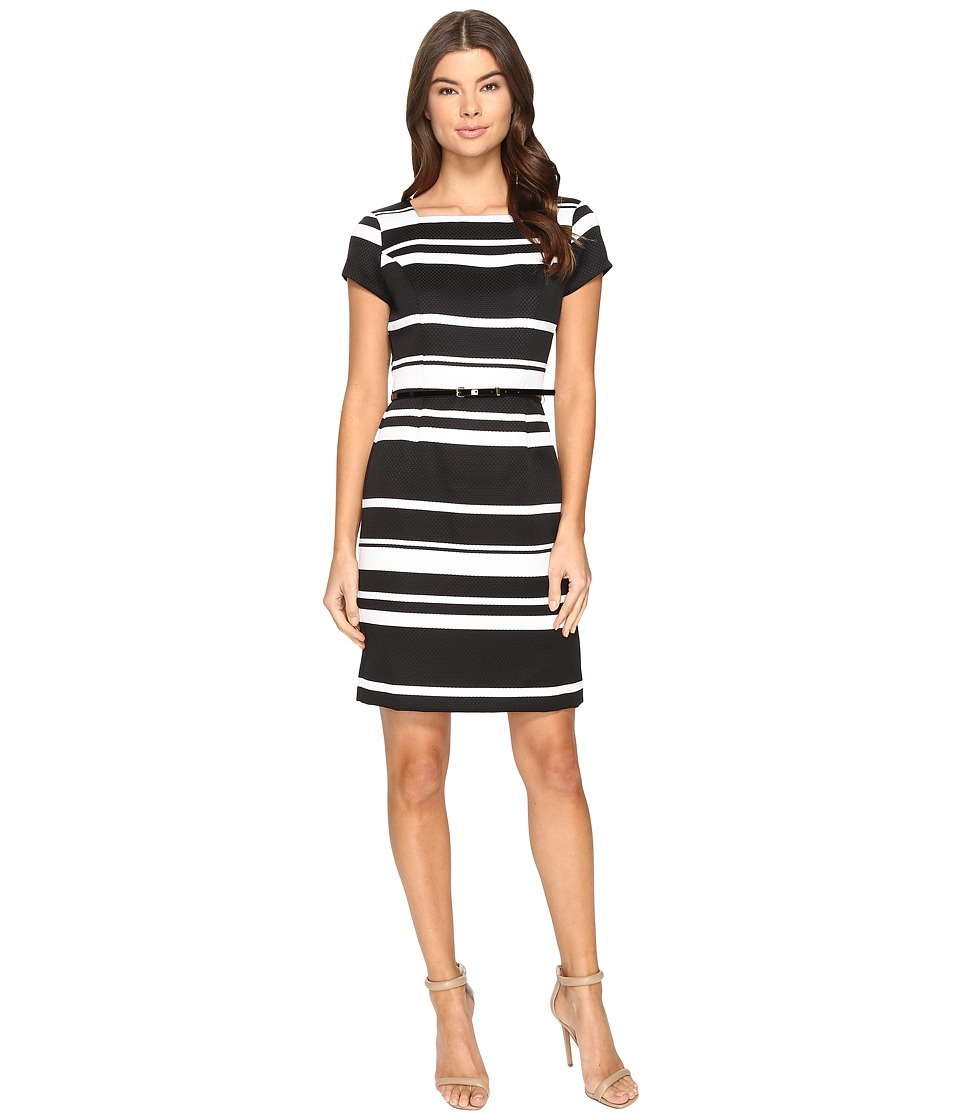 Ellen Tracy - Striped Pique Dress with Belt (Black/White) Women's Dress