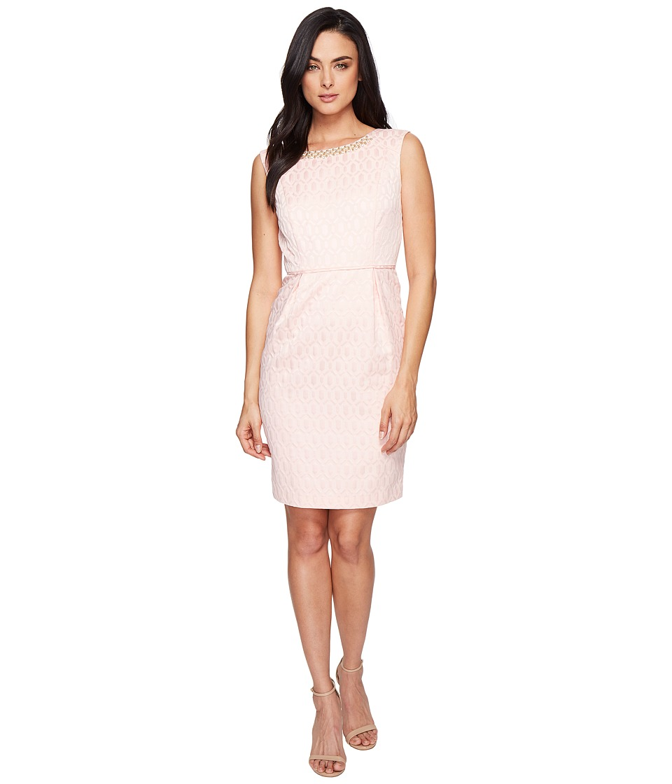 Ellen Tracy Jacquard Dress with Belt and Embellishment (Blush) Women