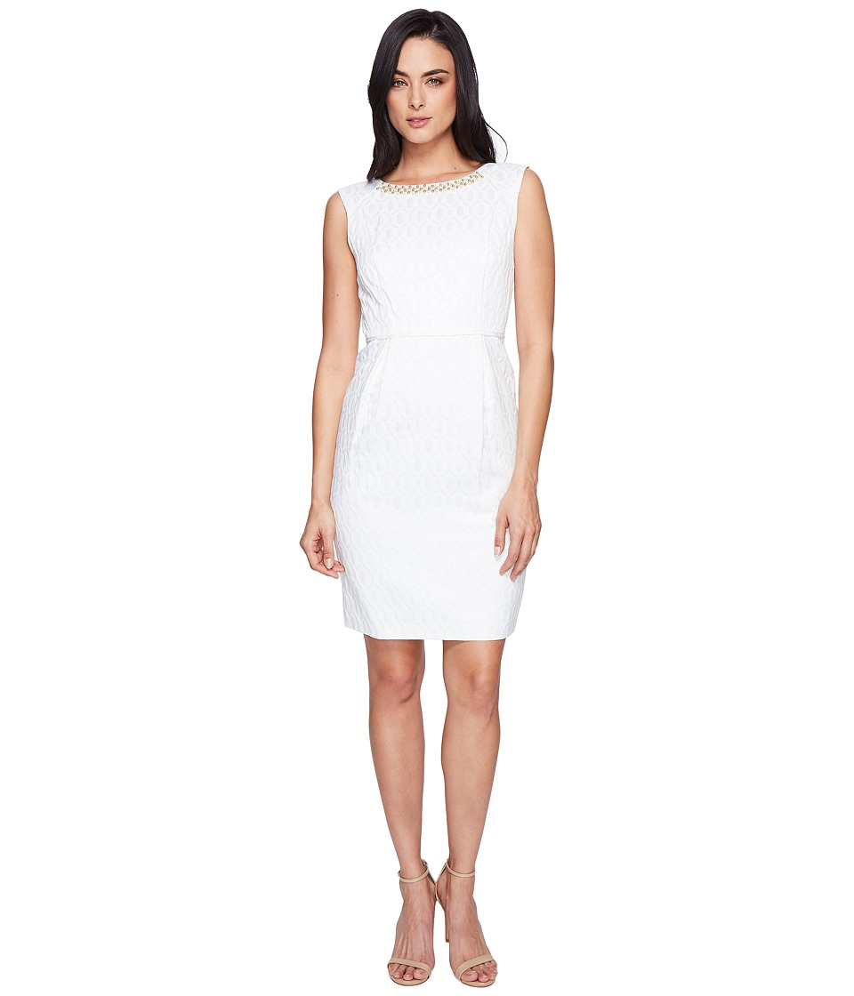 Ellen Tracy - Jacquard Dress with Belt and Embellishment (Ivory) Women's Dress