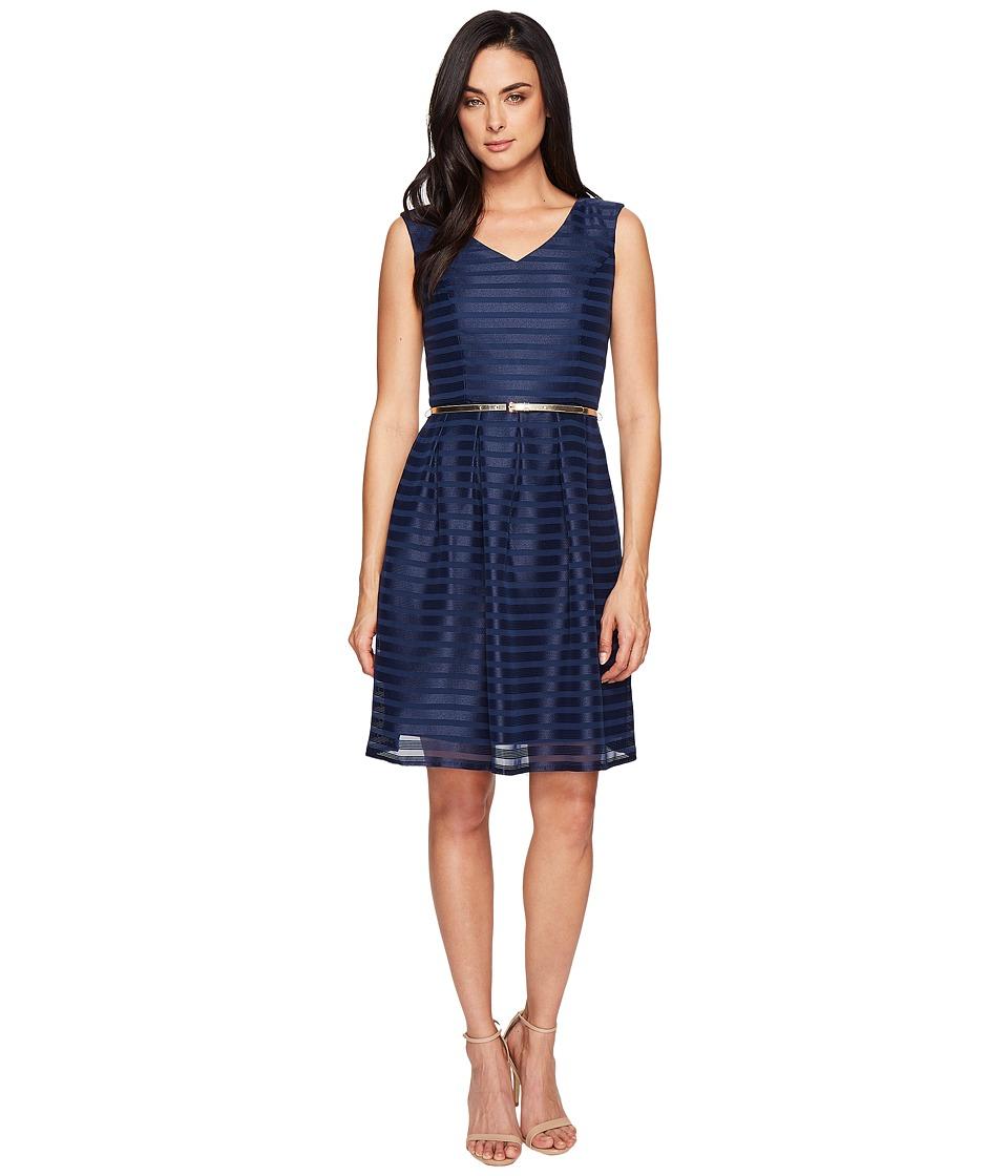 Ellen Tracy Sheer Stripe Dress (Navy) Women