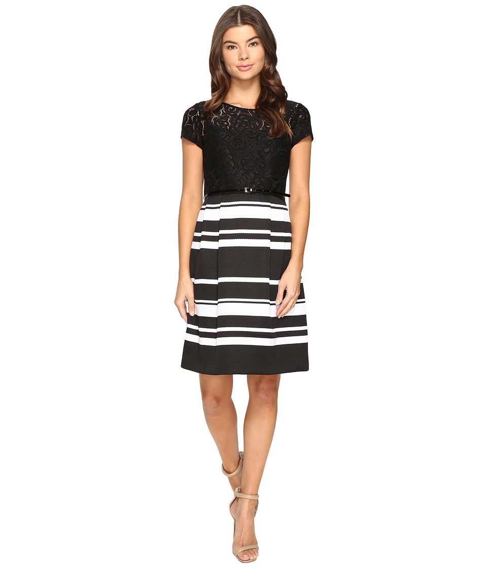 Ellen Tracy - Lace and Pique Dress (Black/White) Women's Dress