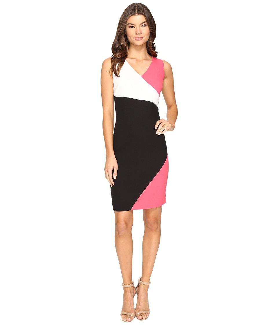 Ellen Tracy Color Block Crepe Dress (Multi) Women