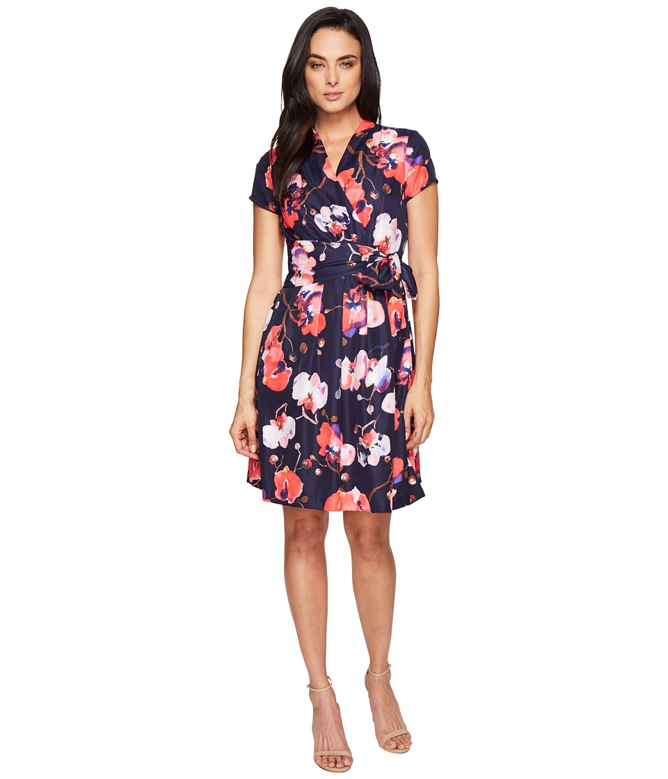 Ellen Tracy - Floral Print Wrap Dress (Navy Multi) Women's Dress