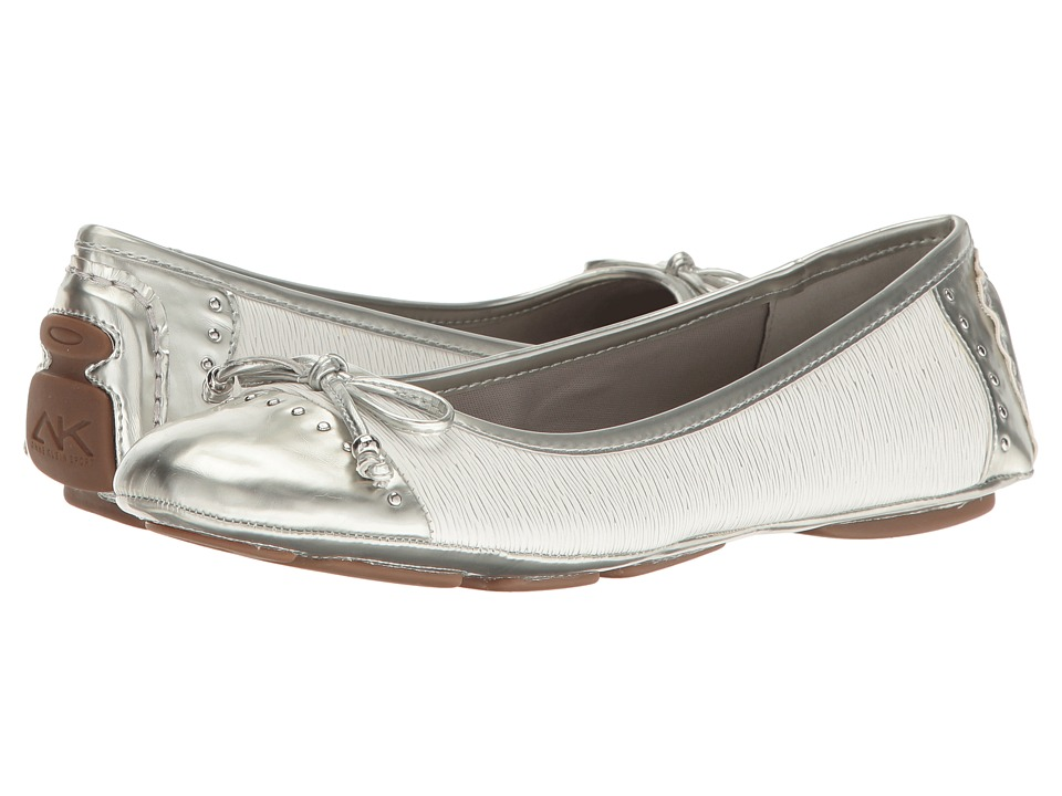Anne Klein - Buttons (White/Silver/White Synthetic) Women's Flat Shoes