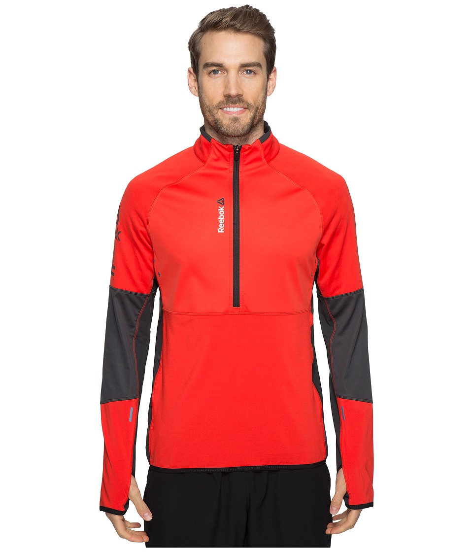 Reebok - One Series Hex Thermal 1/4 Zip Top (Red) Men's Long Sleeve Pullover