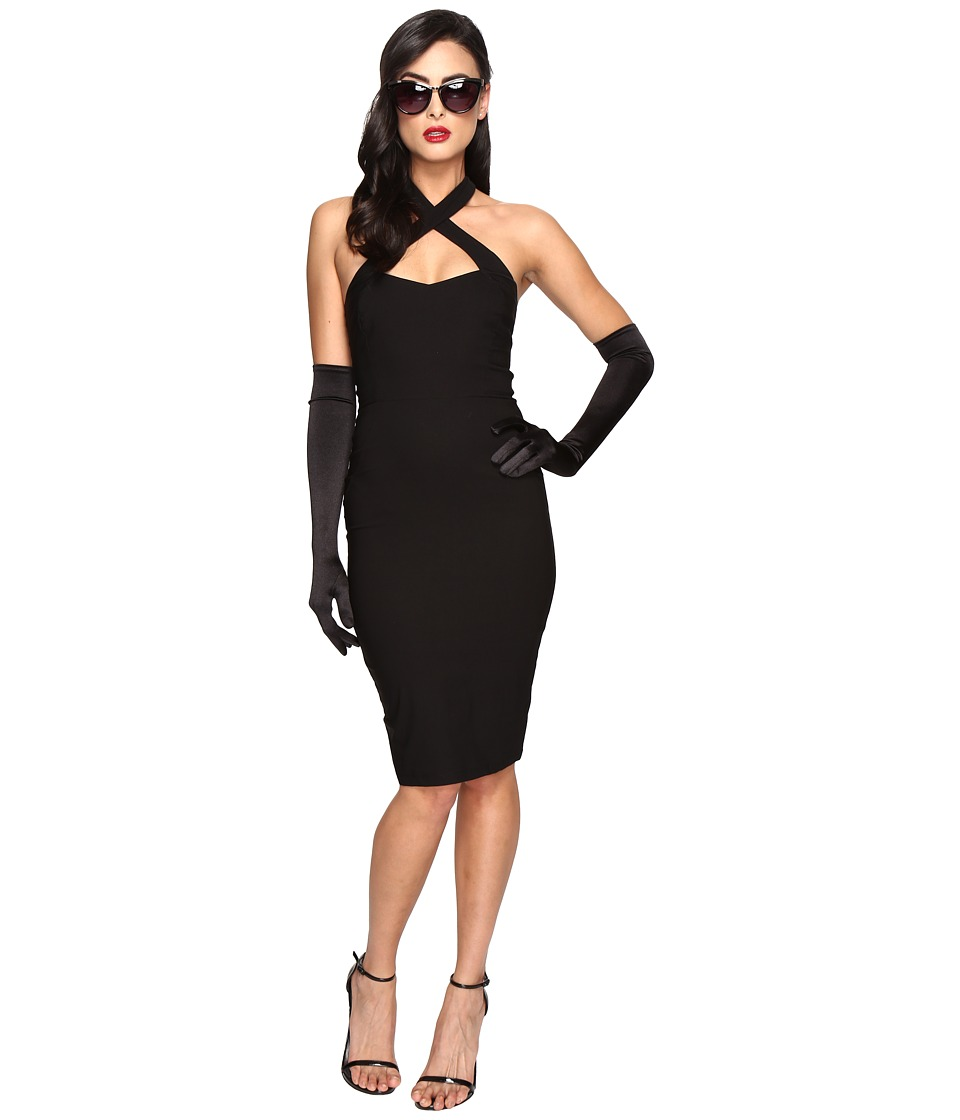 Unique Vintage Crisscross Halter Penelope Wiggle Dress (Black) Women