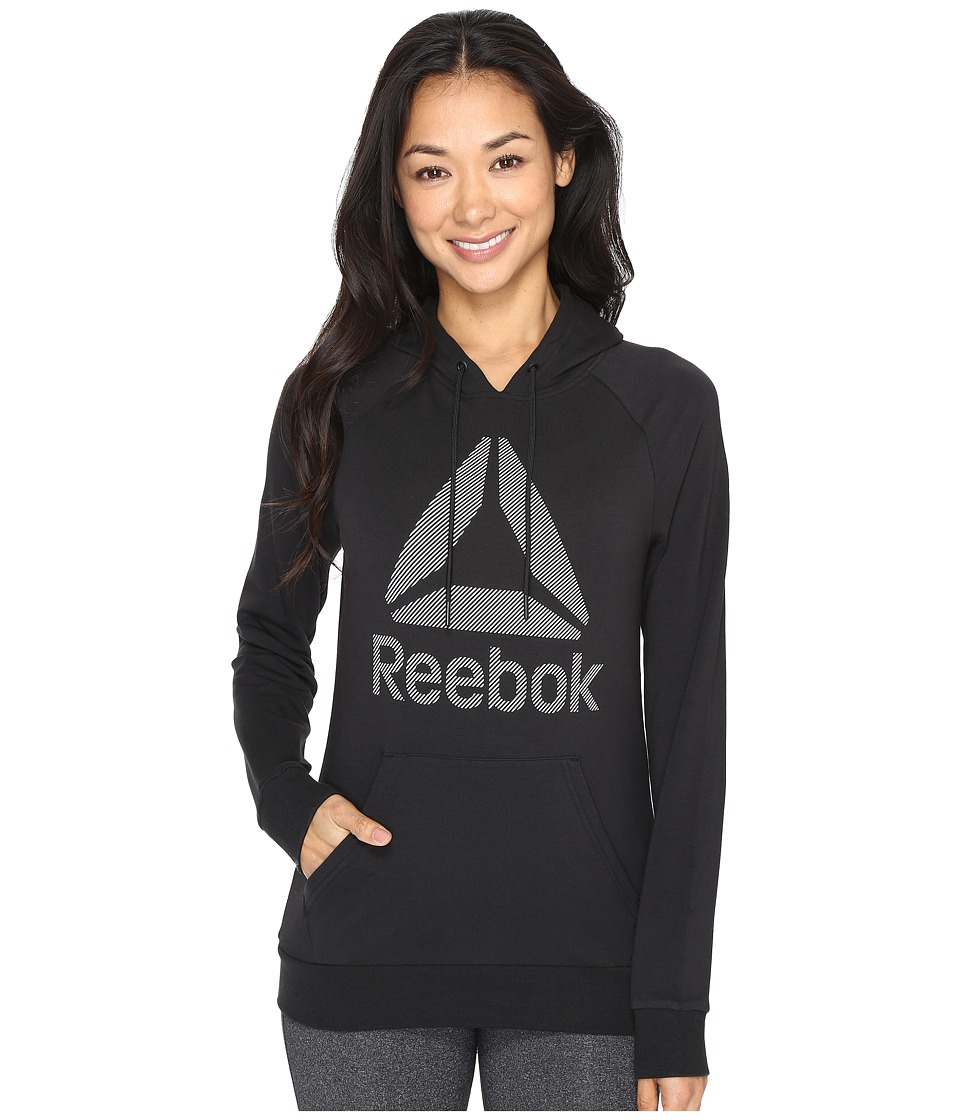Reebok - Workout Ready Big Stacked Logo Pullover Top (Black) Women's Clothing