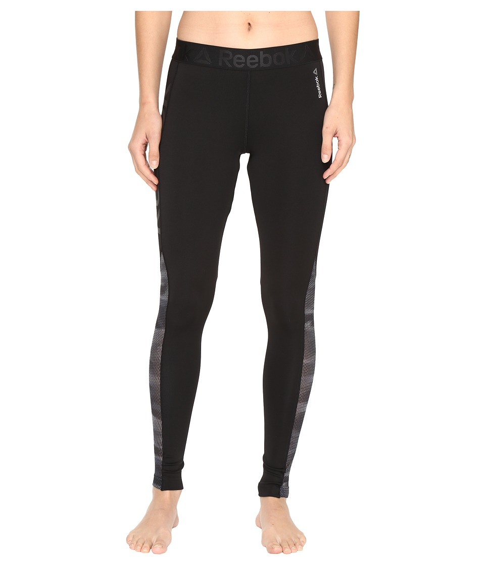Reebok - Workout Ready Mesh Logo Tights (Black/Alloy) Women's Clothing