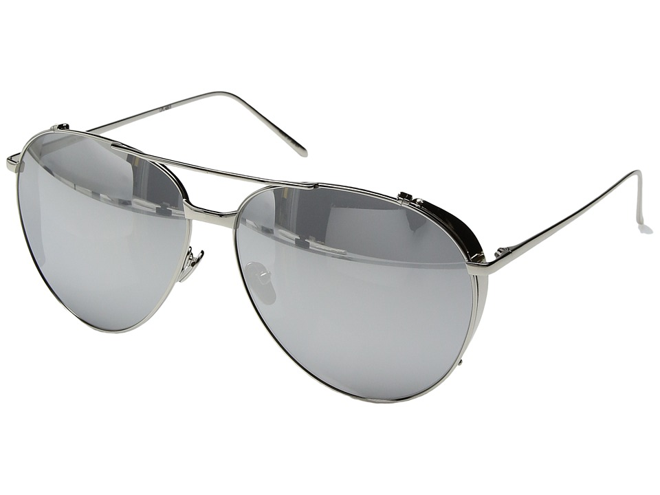 Linda Farrow Luxe - LFL425C2SUN White Gold Platinum Aviator Sunglasses (White Gold/White Gold/Platinum) Fashion Sunglasses