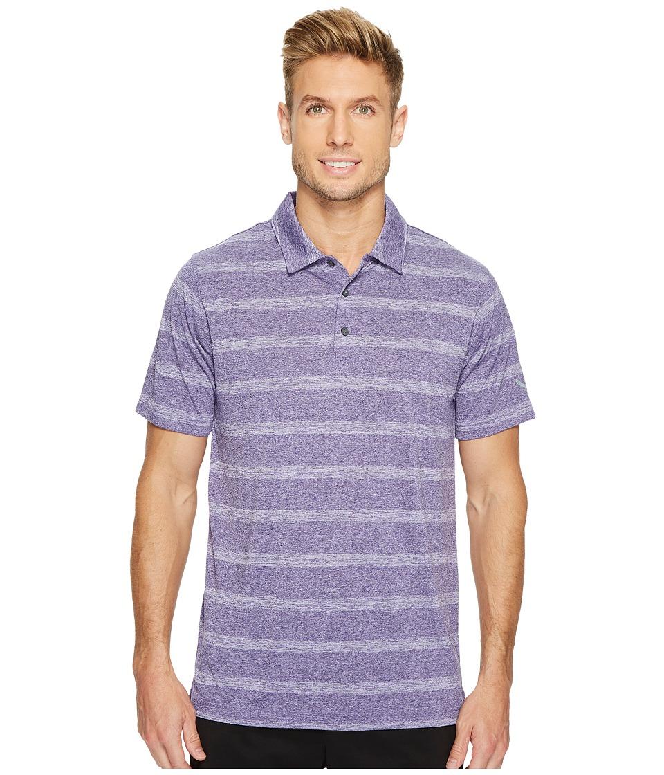 PUMA Golf - Pounce Stripe Polo Cresting (Violet Indigo) Men's Short Sleeve Knit
