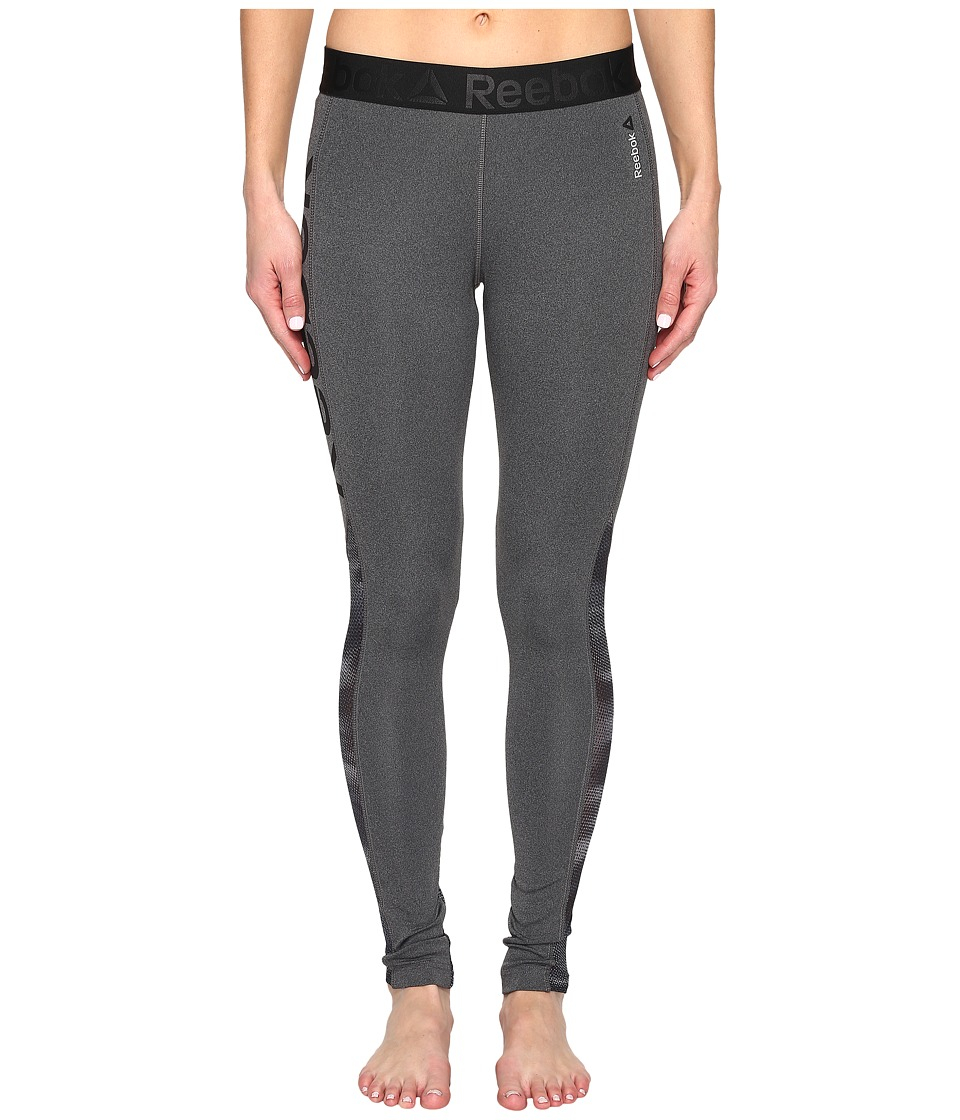 Reebok - Workout Ready Mesh Logo Tights (Grey) Women's Clothing
